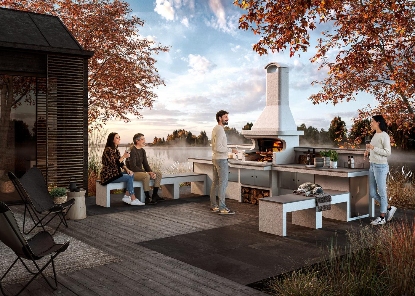 Foto campagna pubblicitaria per azienda con barbecue e modelli in esterno